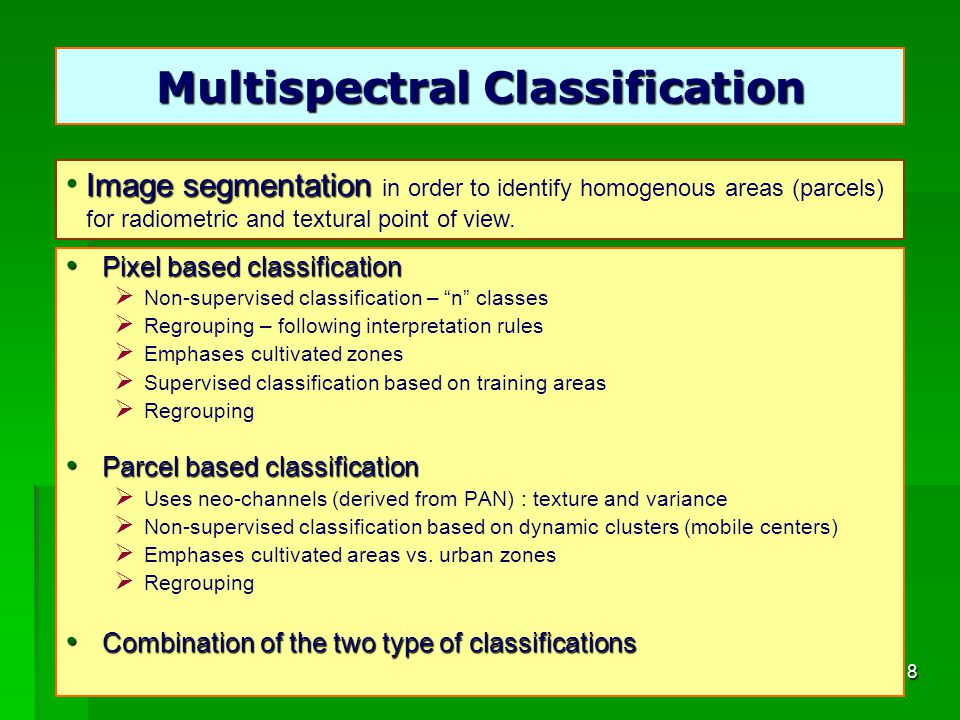 18 Multispectral Classification Pixel based classification Pixel based classification Non-supervised classification – n classes Regrouping – following interpretation rules Emphases cultivated zones Supervised classification based on training areas Regrouping Parcel based classification Parcel based classification Uses neo-channels (derived from PAN) : texture and variance Non-supervised classification based on dynamic clusters (mobile centers) Emphases cultivated areas vs.