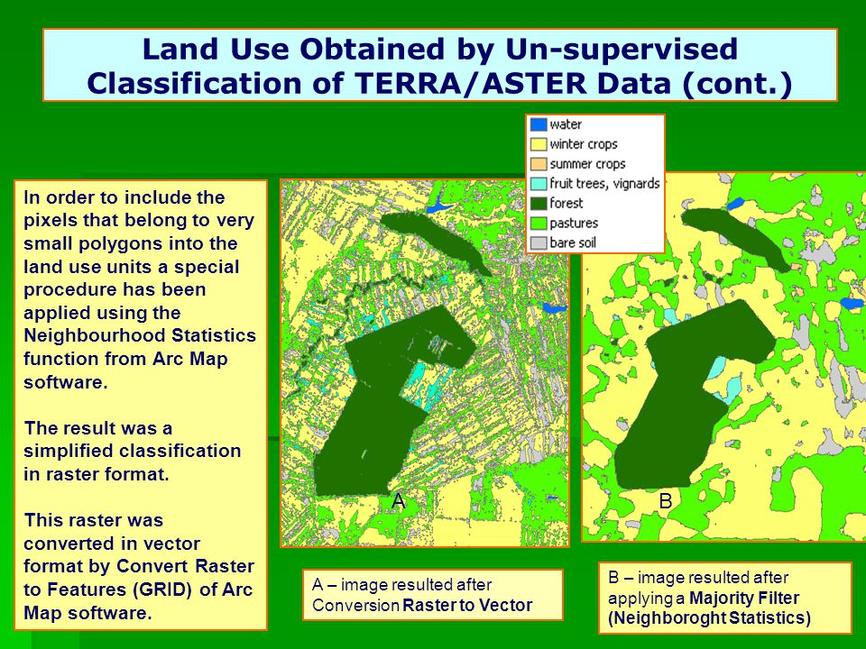24 Land Use Obtained by Un-supervised Classification of TERRA/ASTER Data (cont.) A – image resulted after Conversion Raster to Vector AB B – image resulted after applying a Majority Filter (Neighboroght Statistics) In order to include the pixels that belong to very small polygons into the land use units a special procedure has been applied using the Neighbourhood Statistics function from Arc Map software.