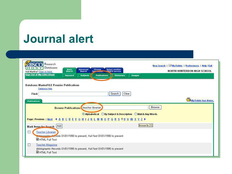 Journal alert