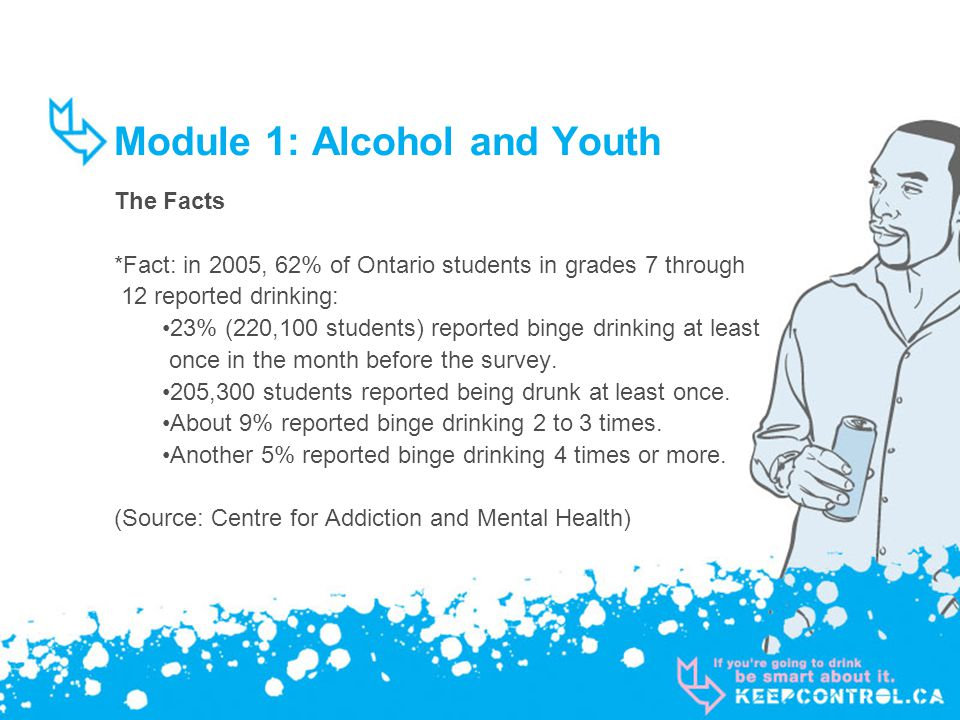 Module 1: Alcohol and Youth The Facts *Fact: in 2005, 62% of Ontario students in grades 7 through 12 reported drinking: 23% (220,100 students) reporte