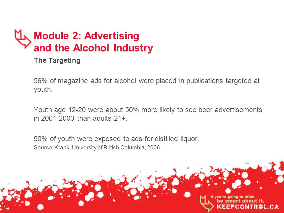 Module 2: Advertising and the Alcohol Industry The Targeting 56% of magazine ads for alcohol were placed in publications targeted at youth. Youth age