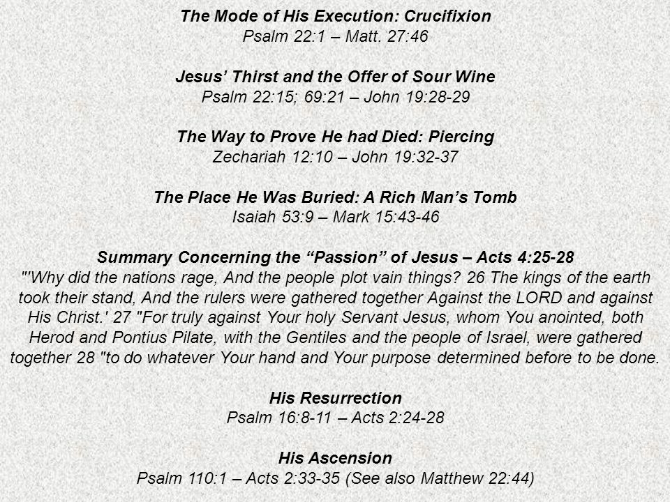 The Mode of His Execution: Crucifixion Psalm 22:1 – Matt.