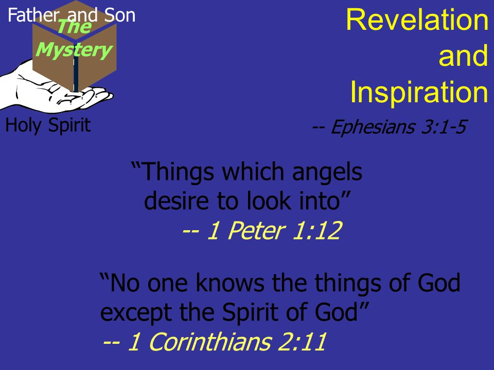 Holy Spirit Revelation and Inspiration -- Ephesians 3:1-5 Things which angels desire to look into -- 1 Peter 1:12 No one knows the things of God except the Spirit of God -- 1 Corinthians 2:11 The Mystery Father and Son