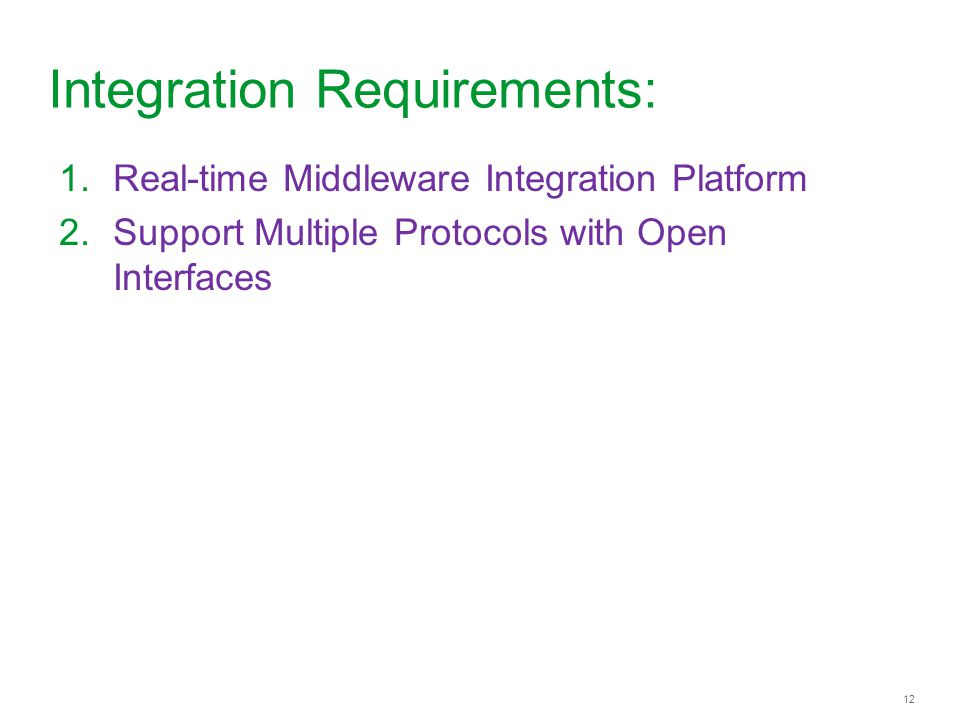 12 Integration Requirements: 1.Real-time Middleware Integration Platform 2.Support Multiple Protocols with Open Interfaces