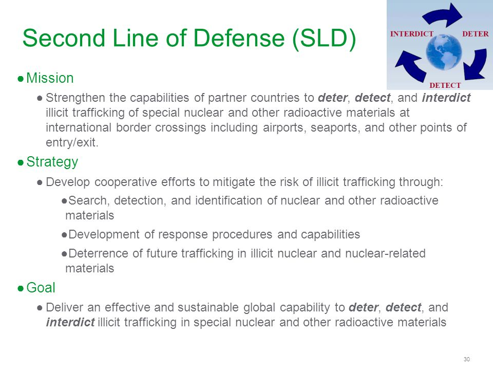 30 Second Line of Defense (SLD) Mission Strengthen the capabilities of partner countries to deter, detect, and interdict illicit trafficking of specia