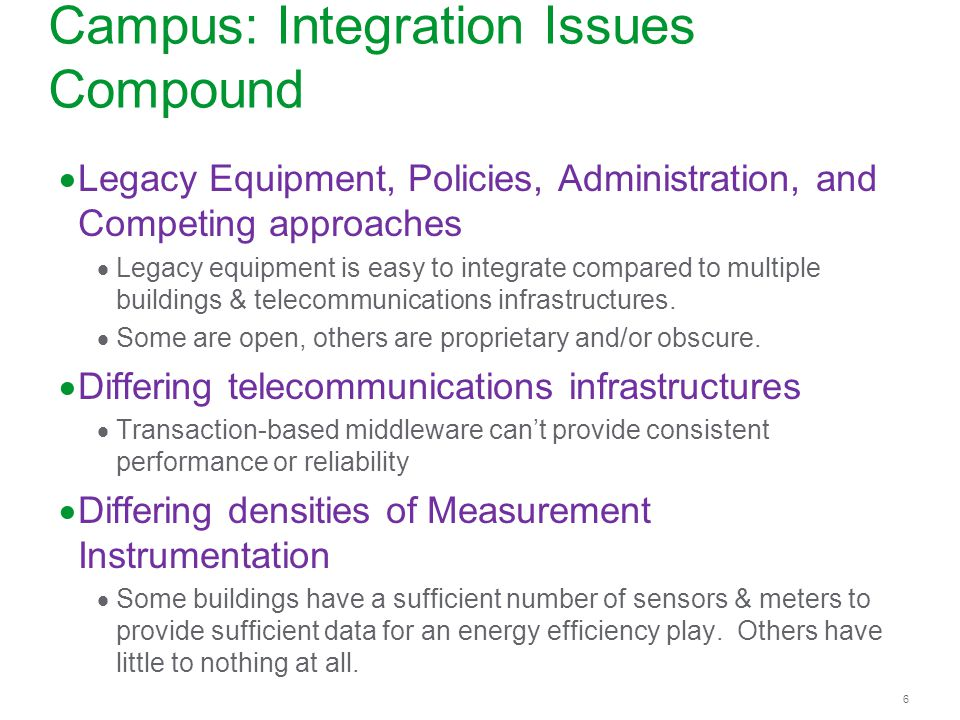6 6 Campus: Integration Issues Compound Legacy Equipment, Policies, Administration, and Competing approaches Legacy equipment is easy to integrate com