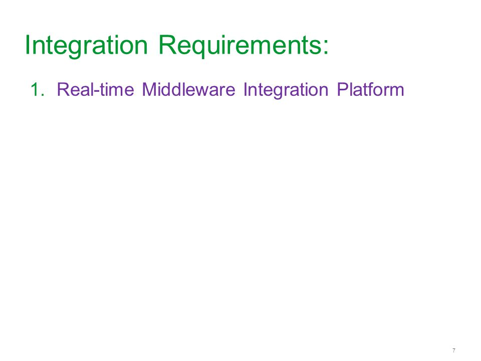 7 7 Integration Requirements: 1.Real-time Middleware Integration Platform