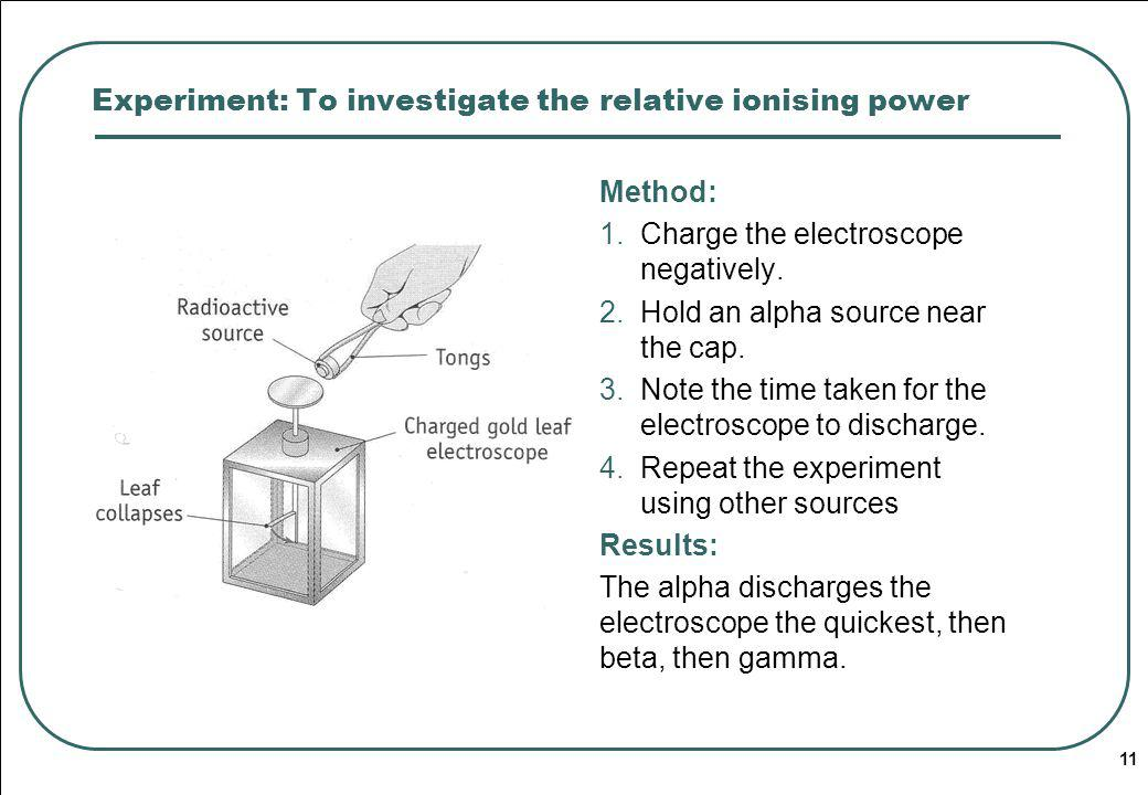 11 Experiment: To investigate the relative ionising power Method: 1.Charge the electroscope negatively.