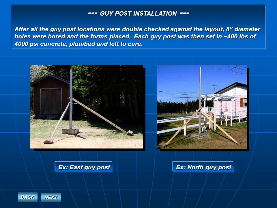 --- OVERVIEW OF THE COMPLETED GUY POSTS --- West, North and East posts East, South and West posts BACK NEXT