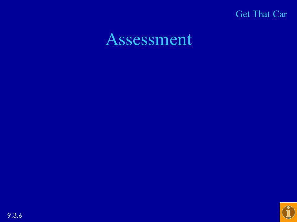 Assessment 9.3.6 Get That Car