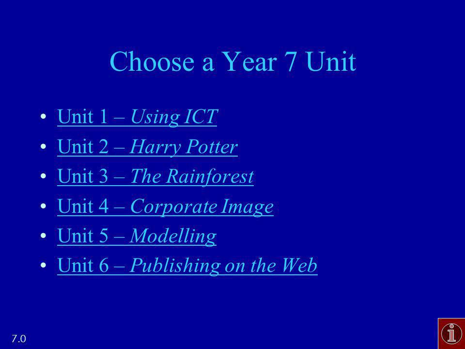 Choose a Year 7 Unit Unit 1 – Using ICTUnit 1 – Using ICT Unit 2 – Harry PotterUnit 2 – Harry Potter Unit 3 – The RainforestUnit 3 – The Rainforest Unit 4 – Corporate ImageUnit 4 – Corporate Image Unit 5 – ModellingUnit 5 – Modelling Unit 6 – Publishing on the WebUnit 6 – Publishing on the Web 7.0