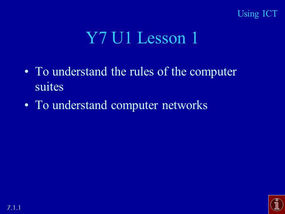 Y7 U1 Lesson 1 To understand the rules of the computer suites To understand computer networks 7.1.1 Using ICT