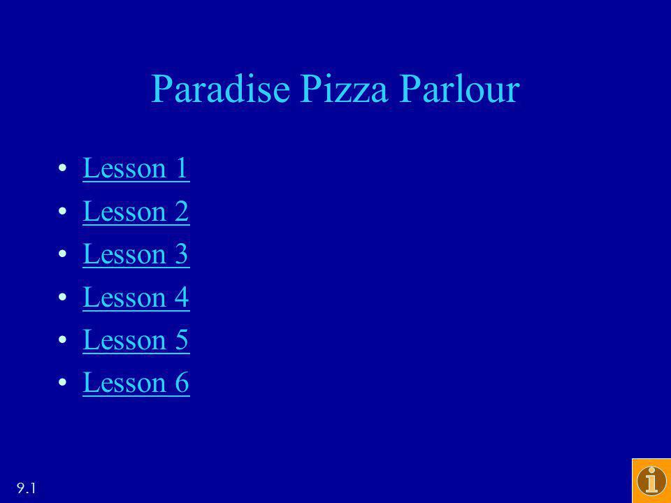 Paradise Pizza Parlour Lesson 1 Lesson 2 Lesson 3 Lesson 4 Lesson 5 Lesson 6 9.1
