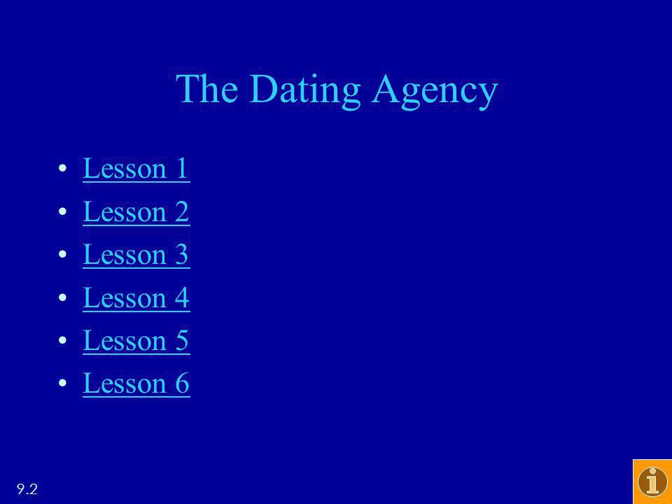The Dating Agency Lesson 1 Lesson 2 Lesson 3 Lesson 4 Lesson 5 Lesson 6 9.2