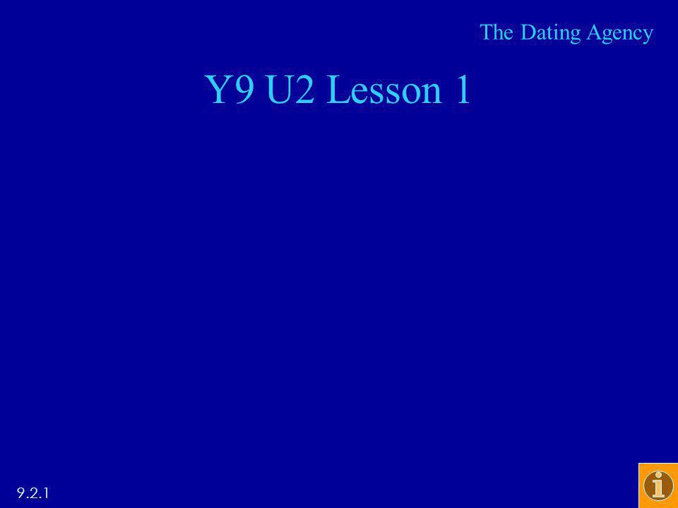 Y9 U2 Lesson 1 9.2.1 The Dating Agency