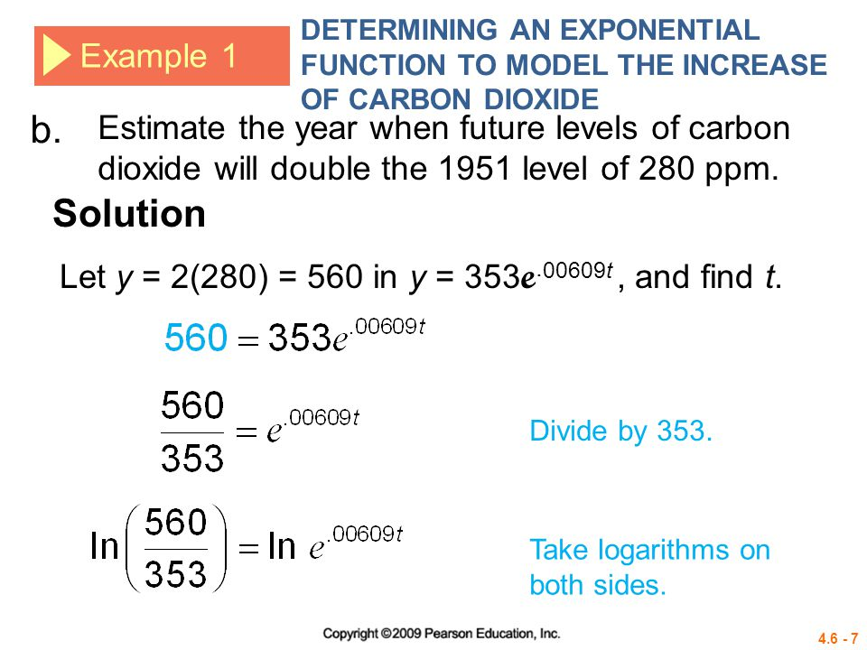 4.6 - 18 Example 4 DETERMINING AN EXPONENTIAL FUNCTION TO MODEL RADIOACTIVE DECAY Divide by 3.