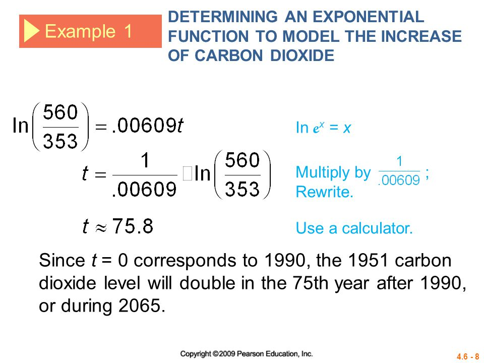 4.6 - 29 Example 6 MODELING NEWTONS LAW OF COOLING Write an equation to model the data.