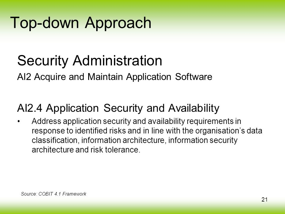21 Security Administration AI2 Acquire and Maintain Application Software AI2.4 Application Security and Availability Address application security and