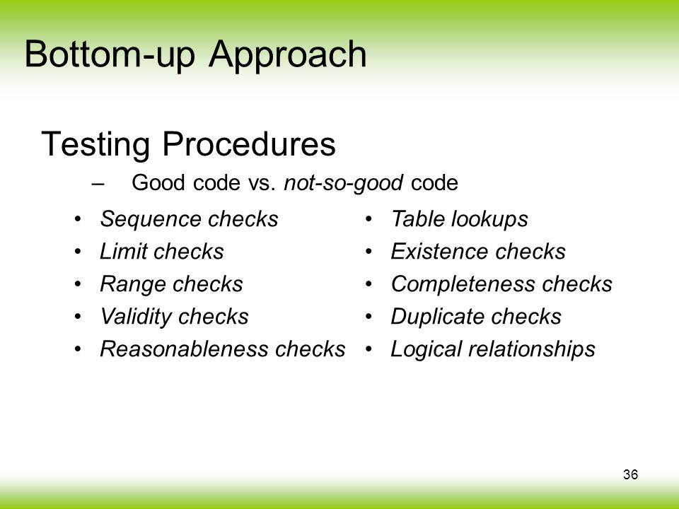 36 Bottom-up Approach Testing Procedures –Good code vs. not-so-good code Sequence checks Limit checks Range checks Validity checks Reasonableness chec