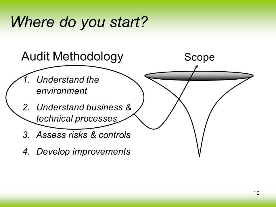 10 Where do you start? 1.Understand the environment 2.Understand business & technical processes 3.Assess risks & controls 4.Develop improvements Scope
