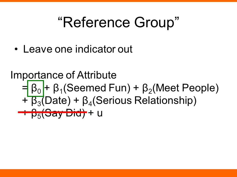 Reference Group Leave one indicator out Importance of Attribute = β 0 + β 1 (Seemed Fun) + β 2 (Meet People) + β 3 (Date) + β 4 (Serious Relationship)