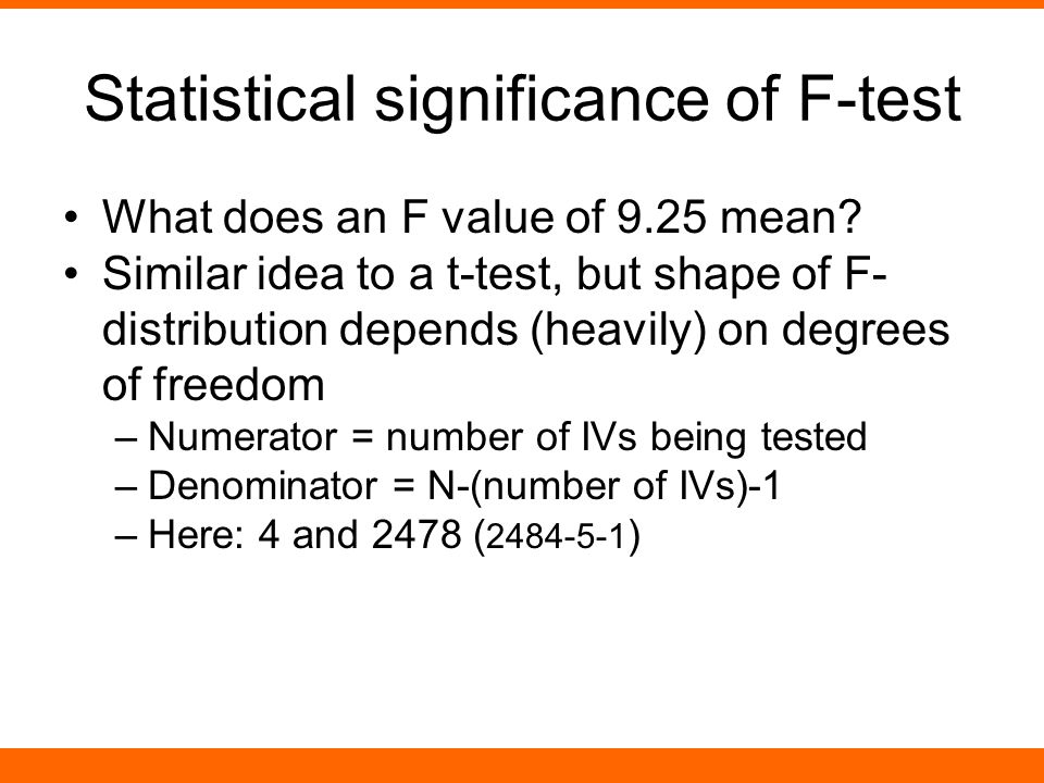 Statistical significance of F-test What does an F value of 9.25 mean.