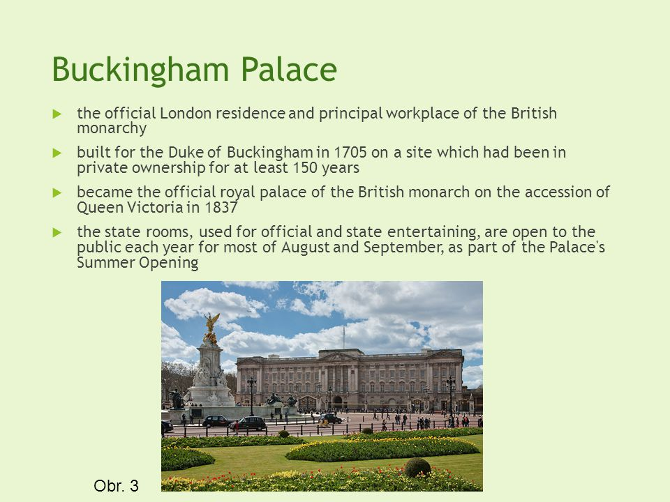 Buckingham Palace the official London residence and principal workplace of the British monarchy built for the Duke of Buckingham in 1705 on a site whi