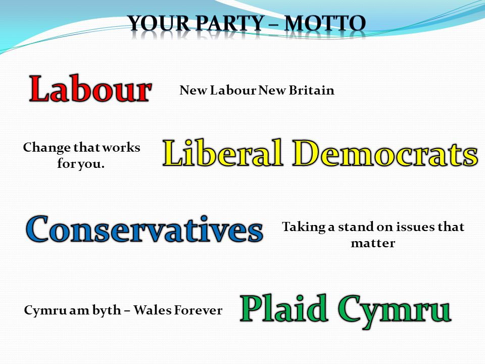Cymru am byth – Wales Forever New Labour New Britain Taking a stand on issues that matter Change that works for you.
