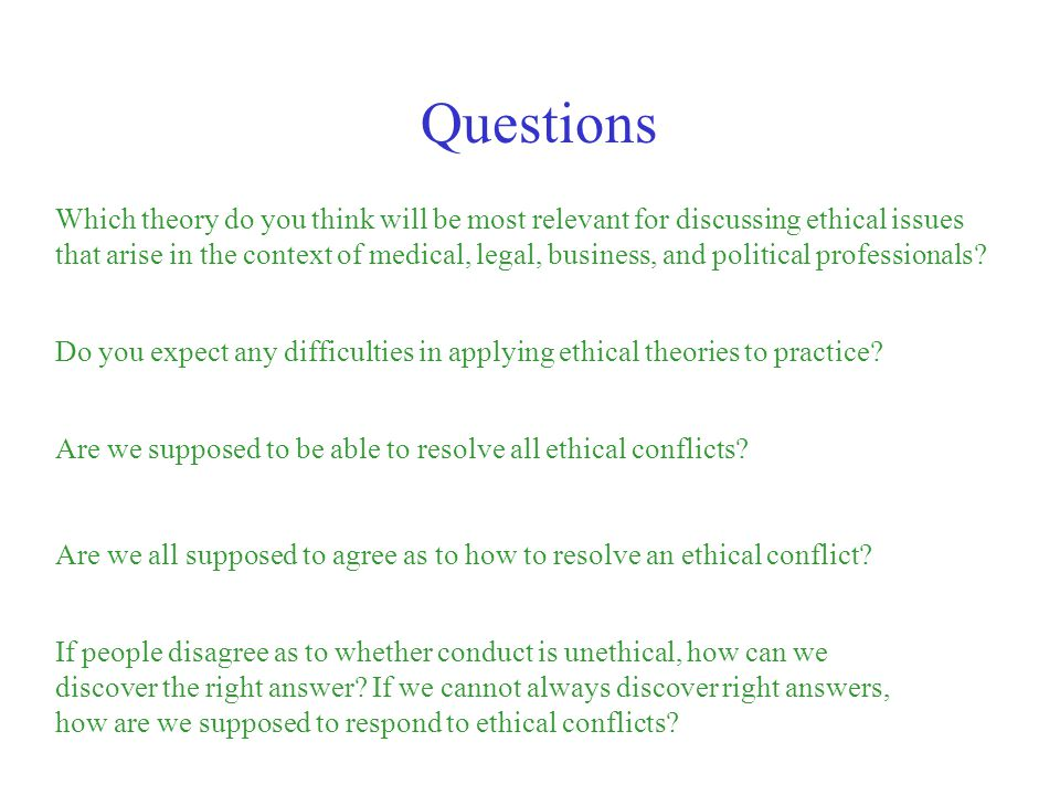 Which theory do you think will be most relevant for discussing ethical issues that arise in the context of medical, legal, business, and political pro