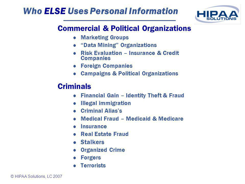 © HIPAA Solutions, LC 2007 Real Risks - Business T.J.