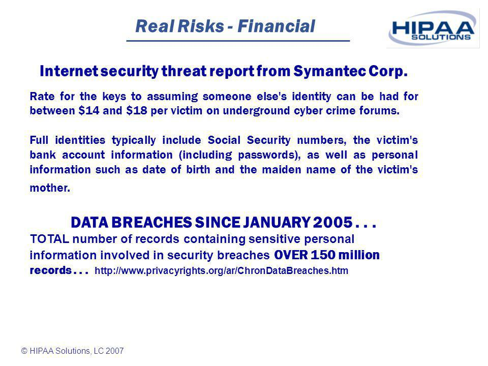 © HIPAA Solutions, LC 2007 Real Risks - Financial Man victimized again and again by ID theft For two years now, Mark Maynard has repeatedly been mistaken for a felon named Kevin O Rourke.