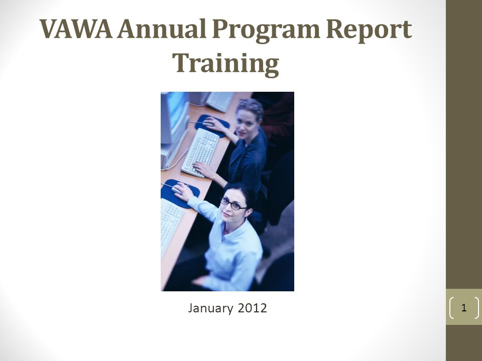VAWA Annual Program Report Training January 2012 1