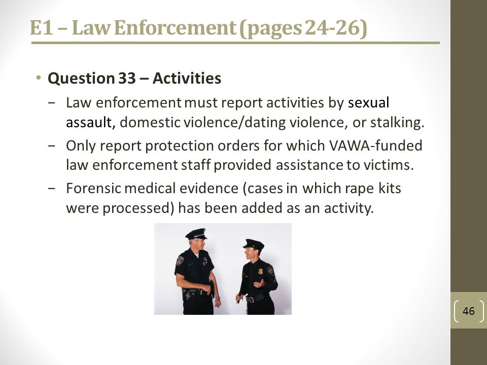 E1 – Law Enforcement (pages 24-26) Question 33 – Activities Law enforcement must report activities by sexual assault, domestic violence/dating violence, or stalking.