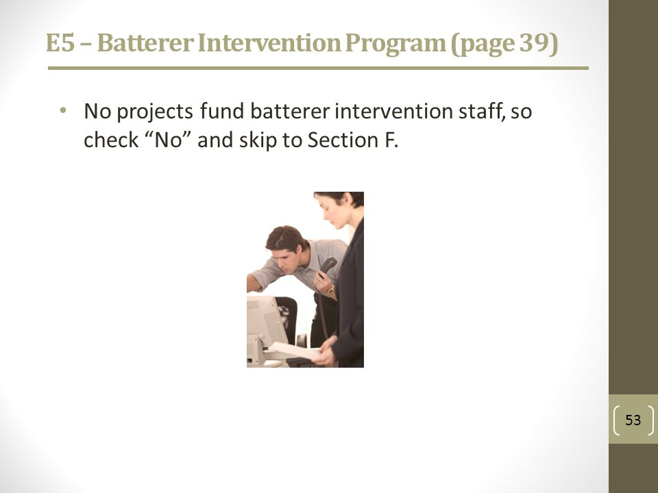 E5 – Batterer Intervention Program (page 39) No projects fund batterer intervention staff, so check No and skip to Section F.