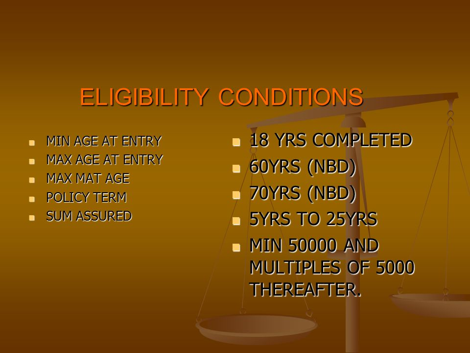 ELIGIBILITY FOR TERM RIDER MIN AGE AT ENTRY MIN AGE AT ENTRY MAX AGE AT ENTRY MAX AGE AT ENTRY MAX MAT AGE MAX MAT AGE MIN SUM ASSURED MIN SUM ASSURED MAX SUM ASSURED MAX SUM ASSURED 18 YRS COMPLETED 18 YRS COMPLETED 50 YRS (NBD) 50 YRS (NBD) 60 YRS (NBD) 60 YRS (NBD) RS 1 LAKH RS 1 LAKH EQUAL TO BASIC SUM ASSURED SUB TO OVERALL LIMIT OF 25 LAKHS.
