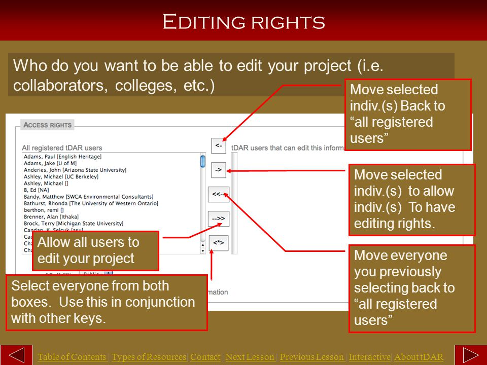 Access rights There are several things you can do in this section to limit or not limit the viewing or editing of your project and any of its associated resources: 1.Select which users can edit this project.