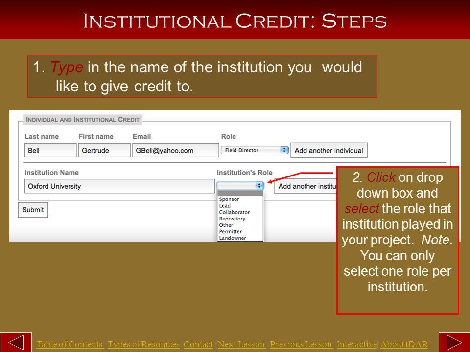 Individual Credit: Steps 1.