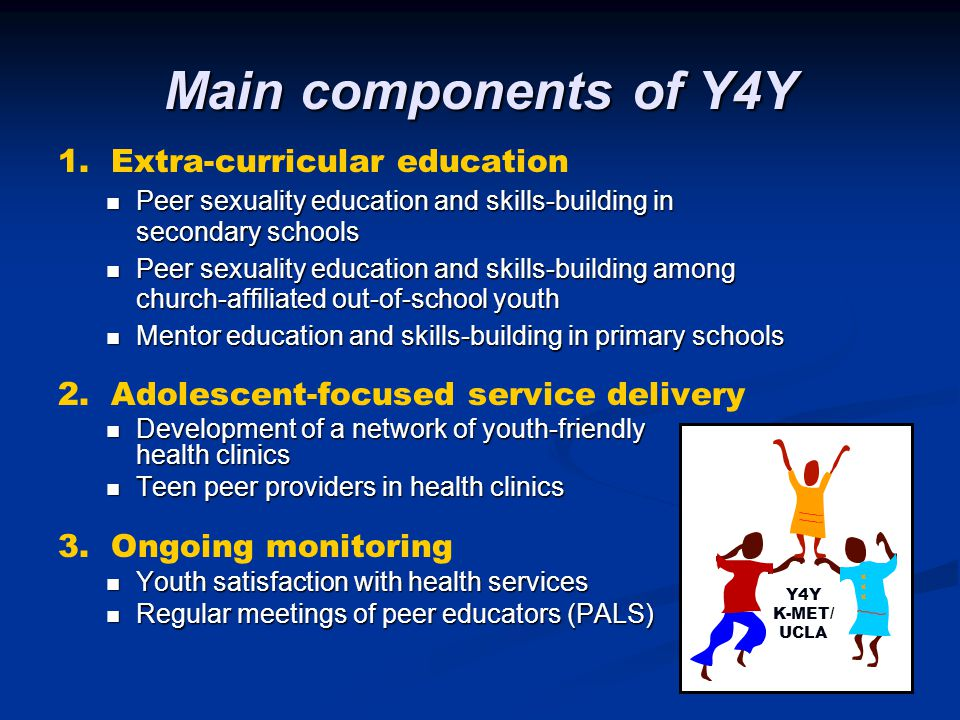 Main components of Y4Y 1. Extra-curricular education Peer sexuality education and skills-building in secondary schools Peer sexuality education and sk