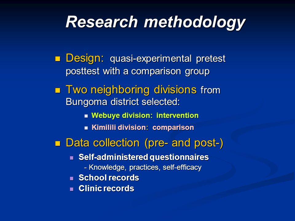 Design: quasi-experimental pretest posttest with a comparison group Design: quasi-experimental pretest posttest with a comparison group Two neighborin