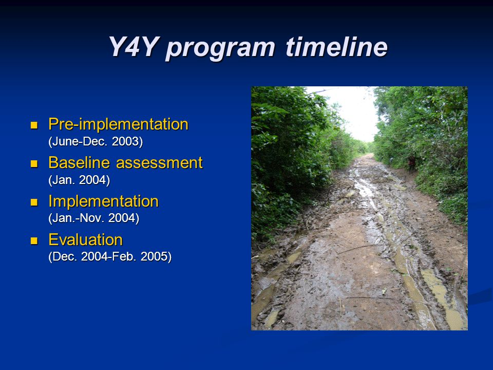Y4Y program timeline Pre-implementation (June-Dec. 2003) Pre-implementation (June-Dec. 2003) Baseline assessment (Jan. 2004) Baseline assessment (Jan.