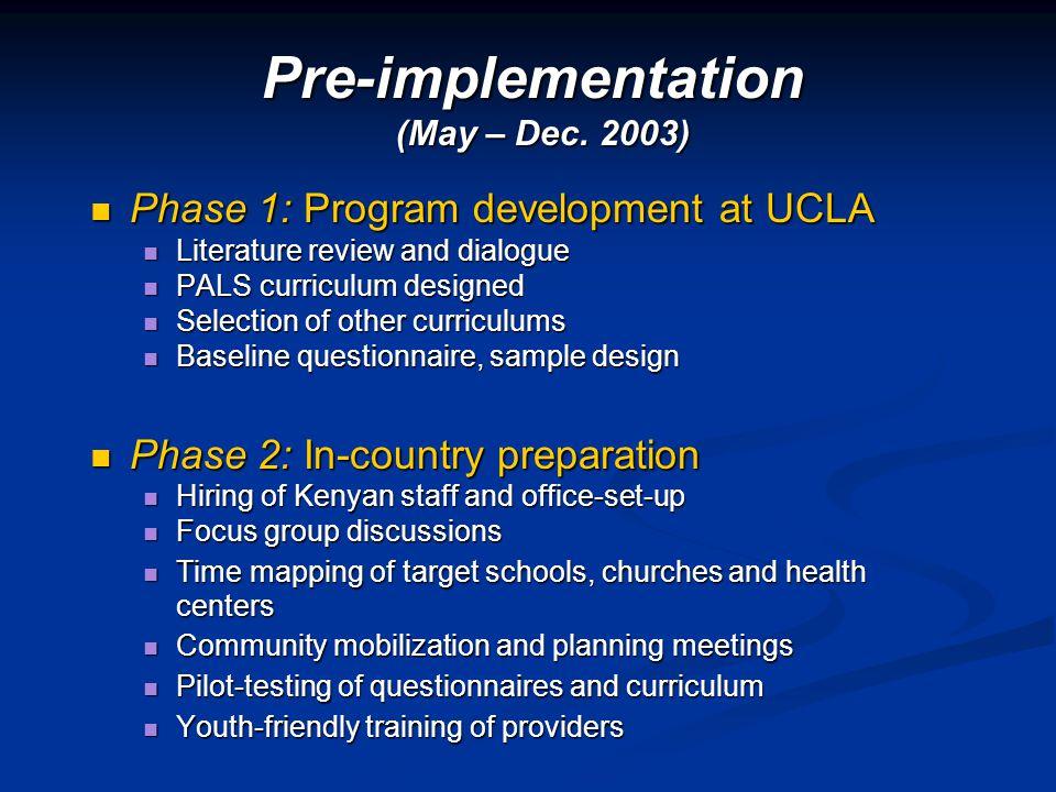 Phase 1: Program development at UCLA Phase 1: Program development at UCLA Literature review and dialogue Literature review and dialogue PALS curriculu