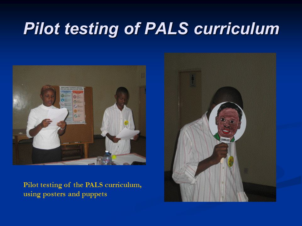 Pilot testing of PALS curriculum Bungoma Pilot testing of the PALS curriculum, using posters and puppets Interior of Y4Y office