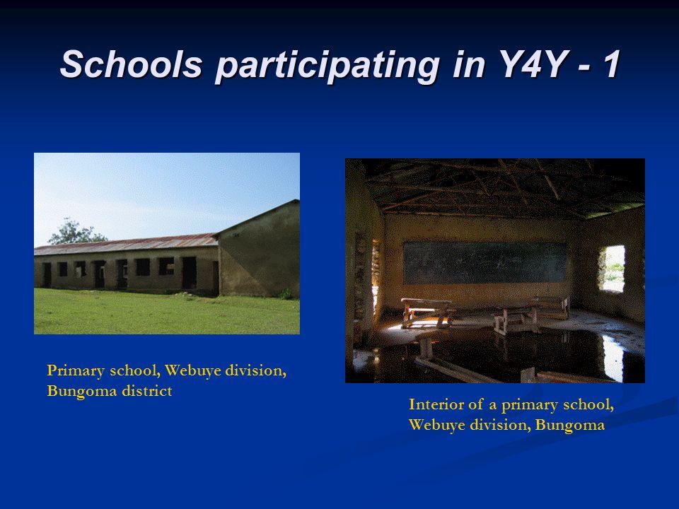 Schools participating in Y4Y - 1 Primary school, Webuye division, Bungoma district Interior of a primary school, Webuye division, Bungoma
