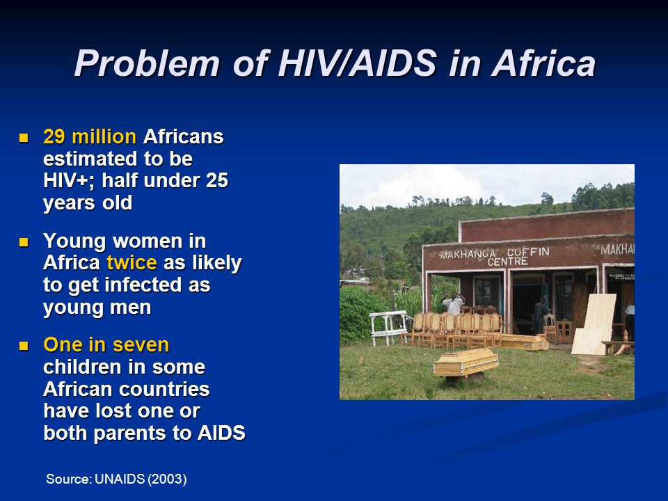 Problem of HIV/AIDS in Africa 29 million Africans estimated to be HIV+; half under 25 years old 29 million Africans estimated to be HIV+; half under 2