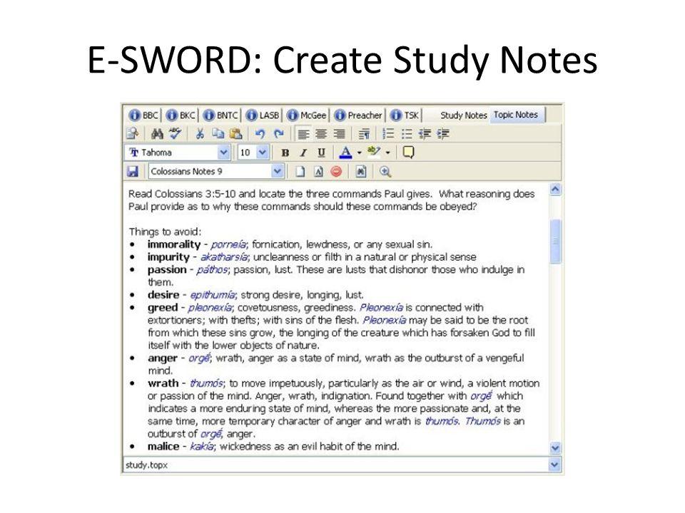 E-SWORD: Create Study Notes