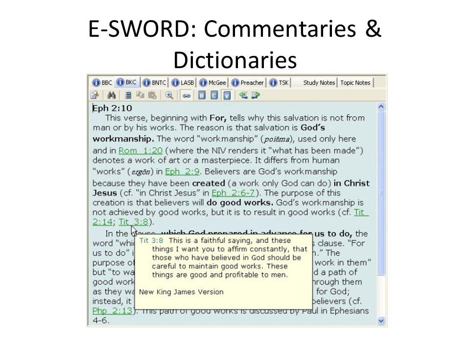 E-SWORD: Commentaries & Dictionaries
