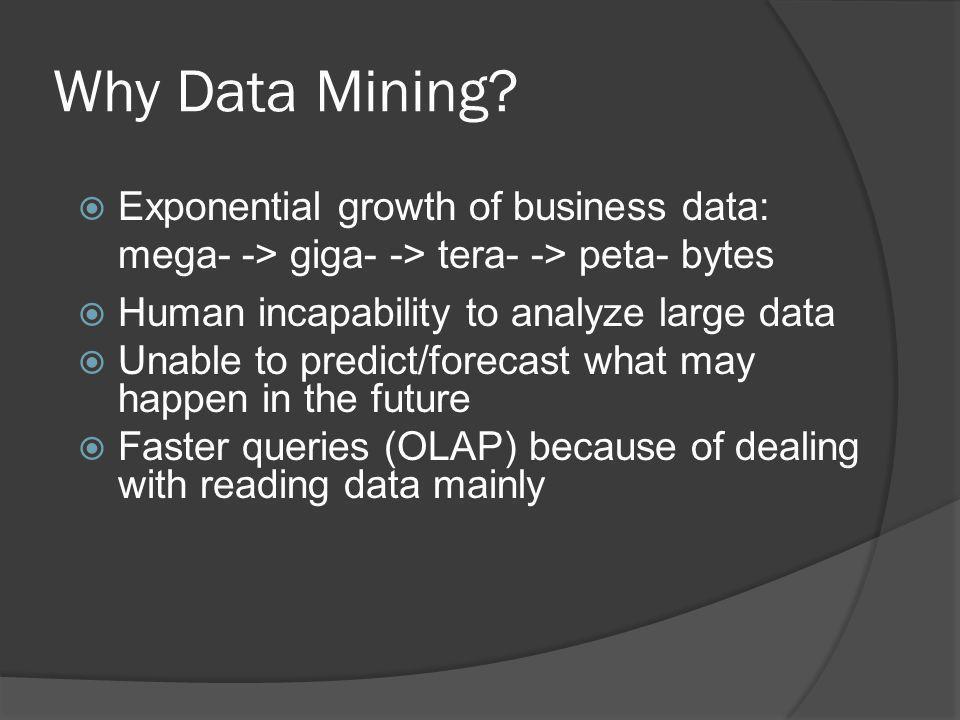 Why Data Mining? Exponential growth of business data: mega- -> giga- -> tera- -> peta- bytes Human incapability to analyze large data Unable to predic