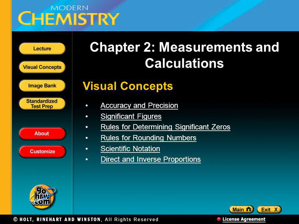 Visual Concepts Chapter 2: Measurements and Calculations Accuracy and Precision Significant Figures Rules for Determining Significant Zeros Rules for Rounding Numbers Scientific Notation Direct and Inverse Proportions