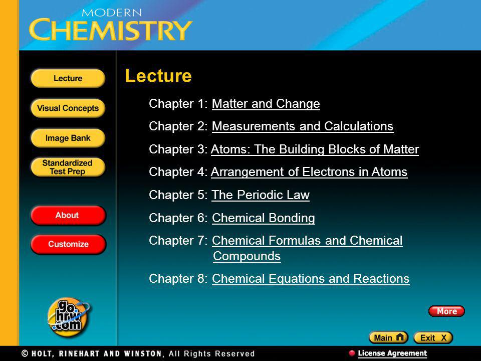 Chapter 1: Matter and ChangeMatter and Change Chapter 2: Measurements and CalculationsMeasurements and Calculations Chapter 3: Atoms: The Building Blocks of MatterAtoms: The Building Blocks of Matter Chapter 4: Arrangement of Electrons in AtomsArrangement of Electrons in Atoms Chapter 5: The Periodic LawThe Periodic Law Chapter 6: Chemical BondingChemical Bonding Chapter 7: Chemical Formulas and Chemical CompoundsChemical Formulas and ChemicalCompounds Chapter 8: Chemical Equations and ReactionsChemical Equations and Reactions Lecture