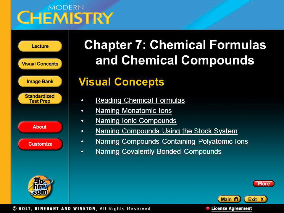 Visual Concepts Chapter 7: Chemical Formulas and Chemical Compounds Reading Chemical Formulas Naming Monatomic Ions Naming Ionic Compounds Naming Compounds Using the Stock System Naming Compounds Containing Polyatomic Ions Naming Covalently-Bonded Compounds
